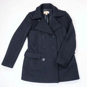 MICHAEL Michael Kors Wool Blend Black Pea Coat